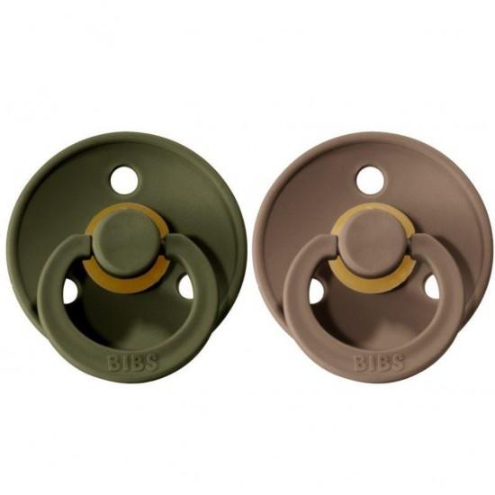 BiBS Πιπίλες Καουτσούκ 0-6m Hunter Green/Dark Oak 2τμχ